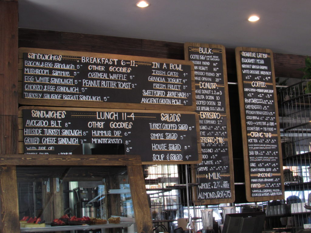 hillside coffee menu